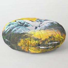 Mountain Sunset - Bob Ross Art Floor Pillow