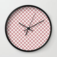 flower pattern Wall Clocks featuring Flower Pattern by Kings in Plaid