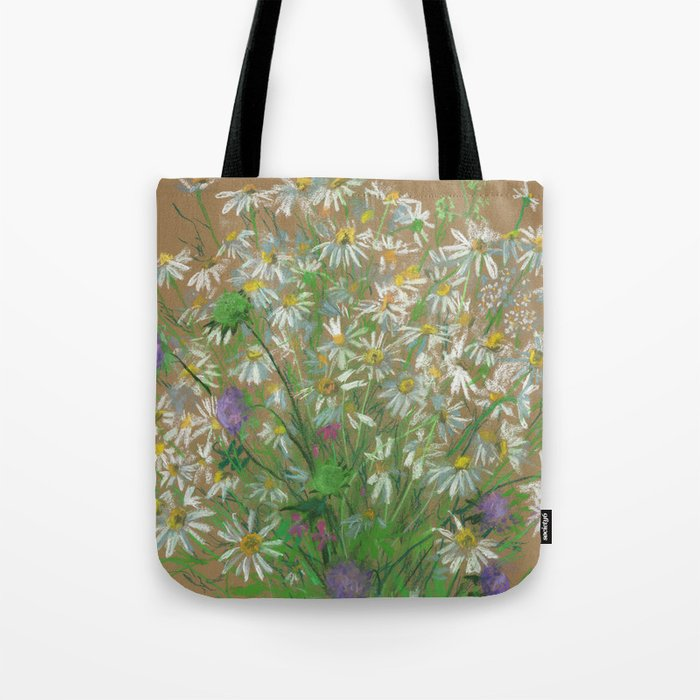 """""""Meadow flowers"""", white daisies, floral art, pastel drawing Tote Bag"""