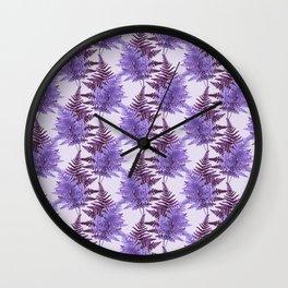 Ferns in Purple Wall Clock