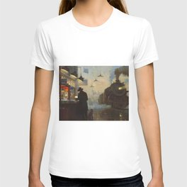 Midnight, The Night Train railway station cityscape - landscape painting by Lionel Walden T-shirt