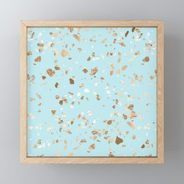 Blue Gold Modern Terrazzo Framed Mini Art Print