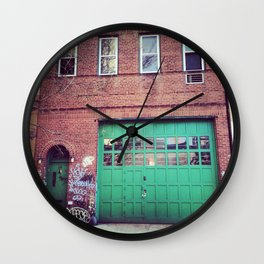 Green Door Wall Clock