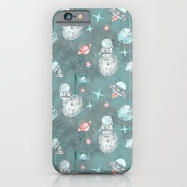 Moon landing blue iPhone Case