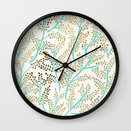 Branches – Mint & Gold Palette Wall Clock