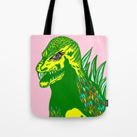 dino Tote Bags featuring Dino by intermittentdreamscapes