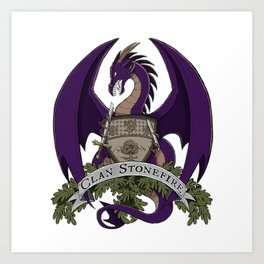 Clan Stonefire Crest - Purple Dragon Art Print
