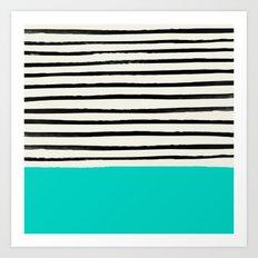 Aqua & Stripes Art Print