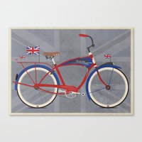 british Canvas Prints featuring British Bicycle by Wyatt Design