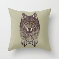 pen Throw Pillows featuring Wind Catcher Wolf by Rachel Caldwell