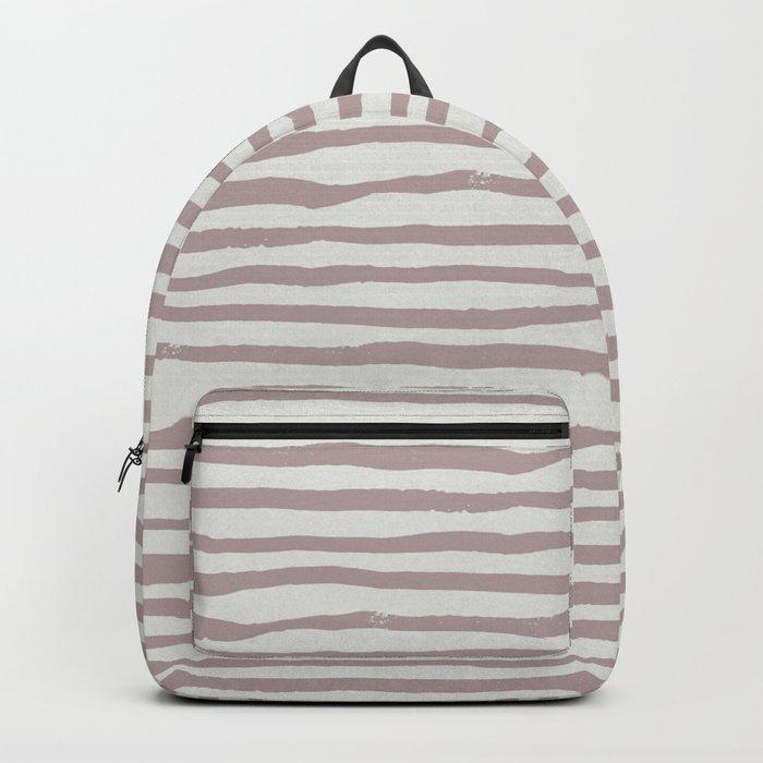 Simply Shibori Stripes Clay Pink on Lunar Gray Backpack