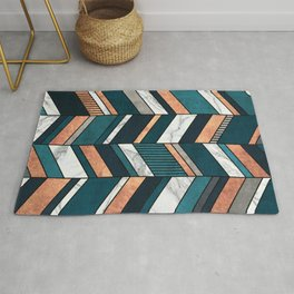Abstract Chevron Pattern - Copper, Marble, and Blue Concrete Rug