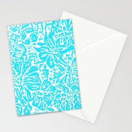 Marigold Lino Cut, Turquoise Stationery Cards