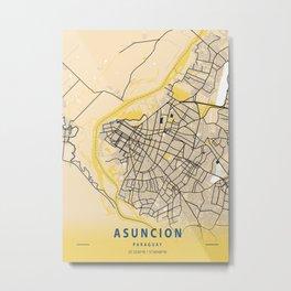Asuncion Yellow City Map Metal Print