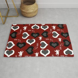 Valentine hearts and cupid - red Rug