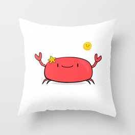 Kawaii Crab Friend Throw Pillow