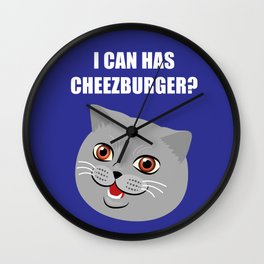 Funny Cat Meme I Can Has Cheezburger? Wall Clock
