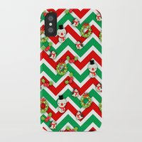 cartoons iPhone & iPod Cases featuring Festive Christmas Cartoons on Chevron Pattern by Kirsten Star