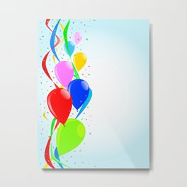 Balloons and Confetti Party Metal Print