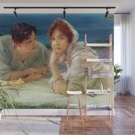 Paolo and Francesca in Love in Fields of Aster on Hillside of Coast of Tuscany, Italy Wall Mural
