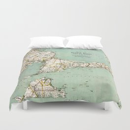 Cap Cod and Vicinity Map Duvet Cover