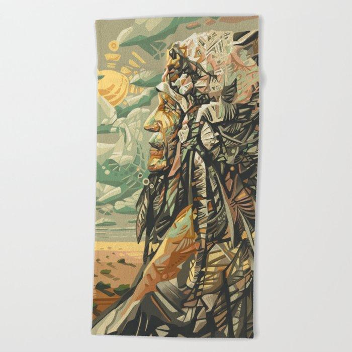 native american portrait Beach Towel