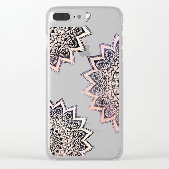 ROSE BOHO NIGHTS MANDALAS Clear iPhone Case