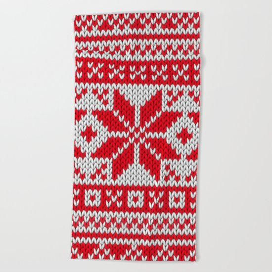 Winter knitted pattern 6 Beach Towel