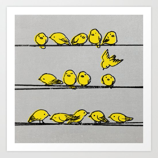 Hanging Out (Yellow Option) Art Print