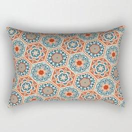 PATCHWORK tiles 01, terracotta orange and teal blue Rectangular Pillow