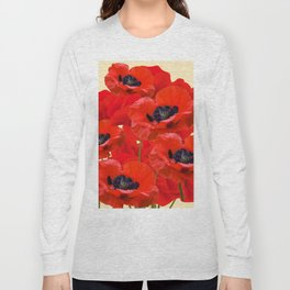 RED ORIENTAL POPPIES ON CREAM COLOR Long Sleeve T-shirt