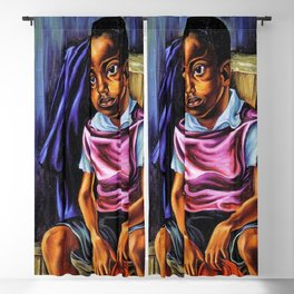 "African American Classical Masterpiece ""Negro Boy, 1938"" by Hale Woodruff Blackout Curtain"
