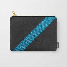 Elegant simple black leather blue gems stripe Carry-All Pouch