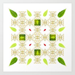 Hedgerow of Ligustrum vulgare Art Print