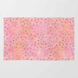 Chic Gold Dots Pink Watercolor Rug