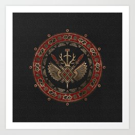 Gungnir - Spear of Odin Black and Red Leather and gold Art Print