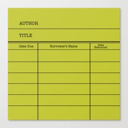 LiBRARY BOOK CARD (lime) Canvas Print