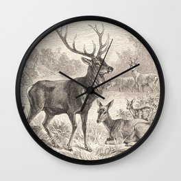 Antique Deer Scene in Nature Wall Clock