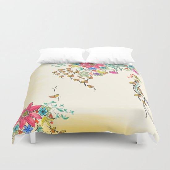 Vibrant Floral to Floral Duvet Cover
