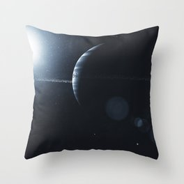 Gas giant with ring system of ice particles. Outer Space, Cosmic Art and Science Fiction Concept. Throw Pillow