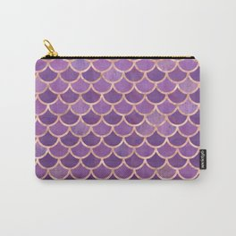 Mermaid Scales Pattern in Purple and Rose Gold Carry-All Pouch