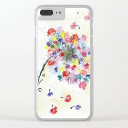 Dandelion watercolor illustration, rainbow colors, summer, free, painting Clear iPhone Case