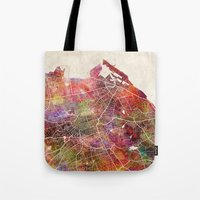 edinburgh Tote Bags featuring Edinburgh by MapMapMaps.Watercolors