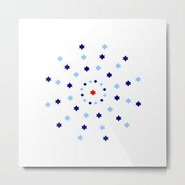 Mandala 2- blue and red Metal Print