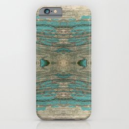 Weathered Rustic Wood - Weathered Wooden Plank - Beautiful knotty wood weathered turquoise paint iPhone Case