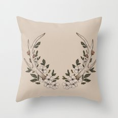 Floral Antler Throw Pillow