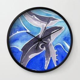Polynesian humpback whale and calf Wall Clock