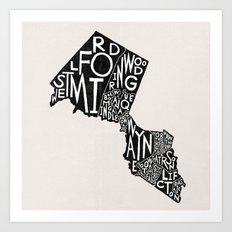Passaic County, New Jersey Map Art Print