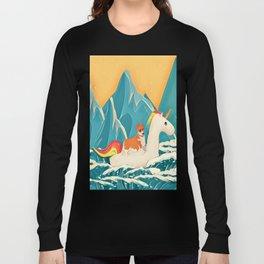 Corgi and the rainbow unicorn Long Sleeve T-shirt