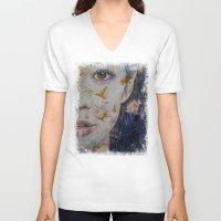geisha V-neck T-shirts featuring Geisha by Michael Creese